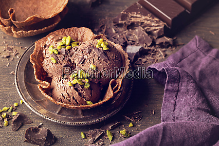 homemade chocolate ice cream in a