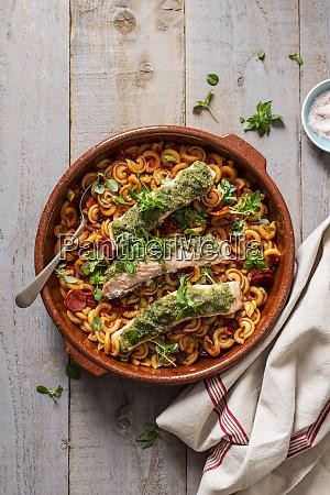 pasta with tomato sauce and chorizo
