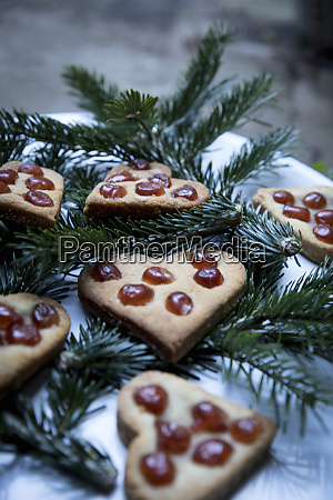 gingerbread christmas heart biscuits decorated with