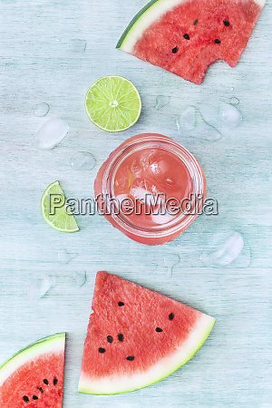glass jar filled with tasty watermelon