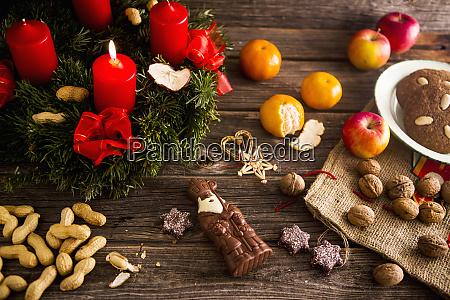 an advent wreath a chocolate father
