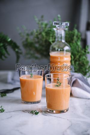 bottle and glasses of fresh vitamin