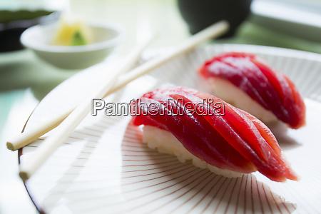authentic japanese tunfish nigiri fish cutted