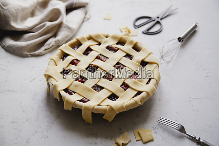 uncooked berry pie with a lattice