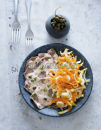 vitello tonnato with a carrot and