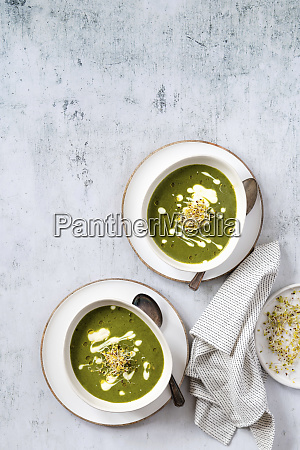 vegan kale soup with soy cream