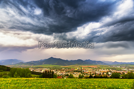 spring storm in mountains overcast dramatic