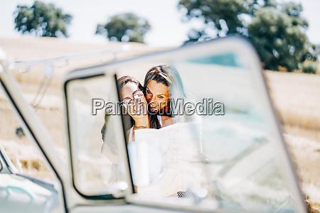 lesbian couple doing a road trip