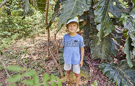 brazil bonito boy standing in jungle