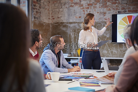 businesswoman holding presentation at a meeting