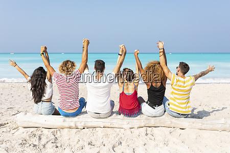 friends taking a break sitting on