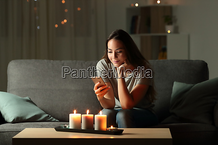 relaxed girl using phone in the