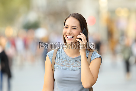 happy woman calling on phone on