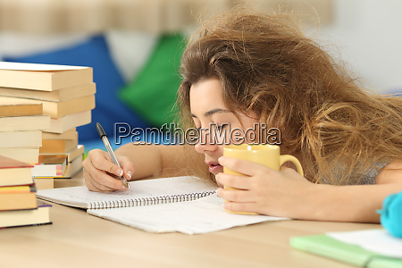 tired and sleepy student trying to