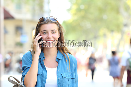 woman talking on phone with copy