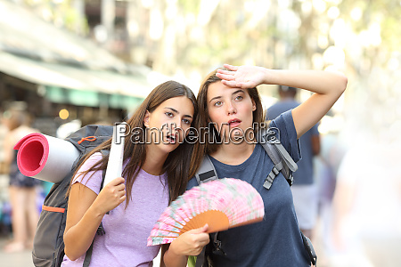 two backpackers suffering heat stroke on