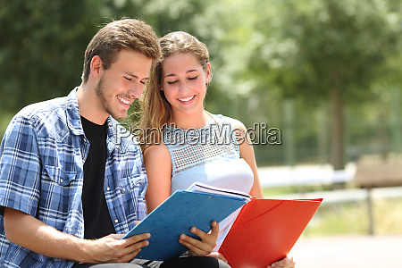 couple of students studying together in