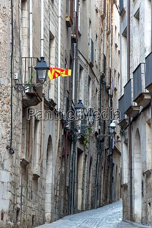 narrow street in girona spain