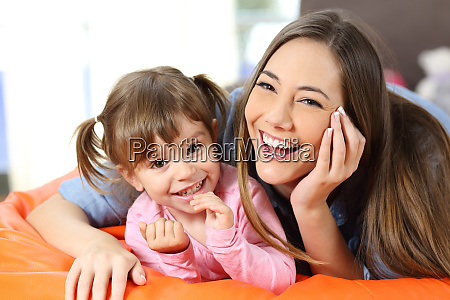portrait of a happy mother and