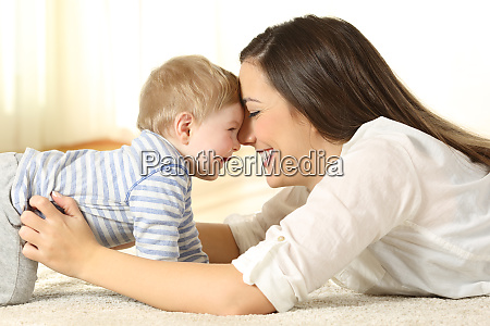 affectionate mother with her baby