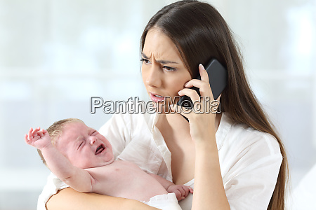 mother calling to a doctor worried