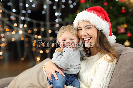 mother and son looking at you