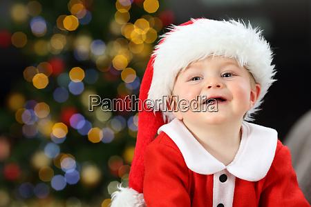 kid looking at camera in christmas