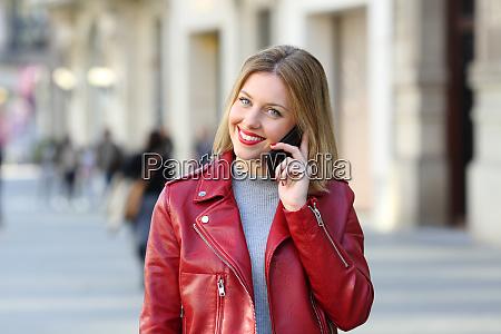 fashion woman looking at camera talking