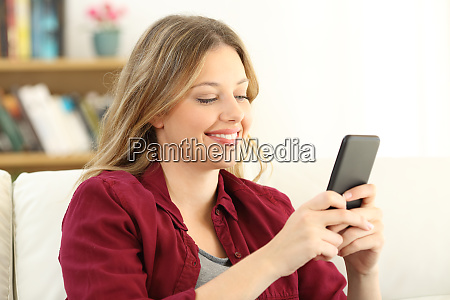 happy woman chatting on a smart
