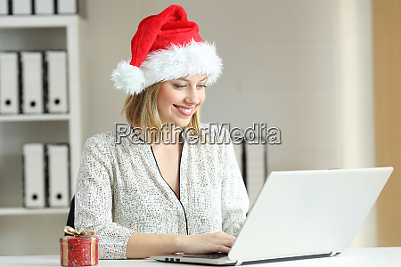 office worker working in christmas time