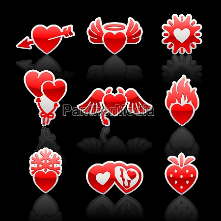 set icons of valentines day red