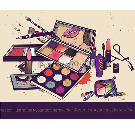 vector illustration of colorful cosmetics make