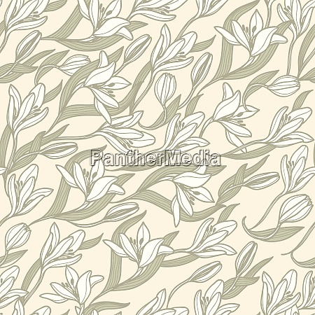 vector floral pattern with white tulips