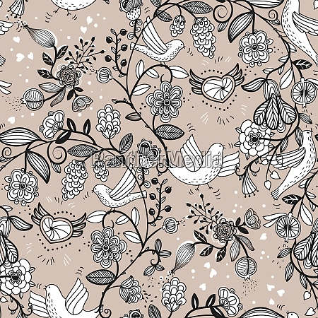 vector floral seamless pattern with birds