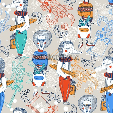 vector seamless pattern with cartoon