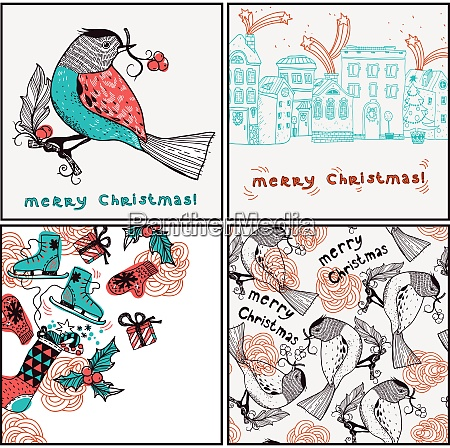 vector set of christmas cards and