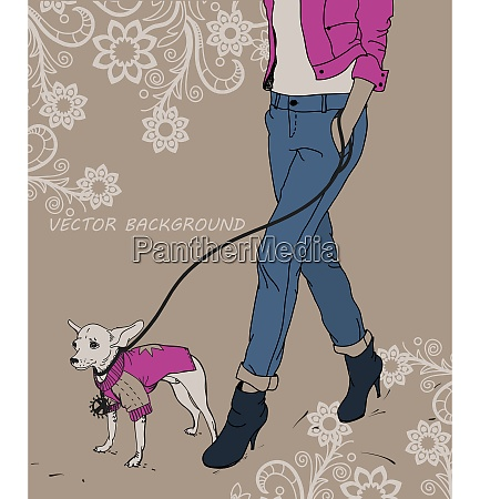 trendy girl and a little dog