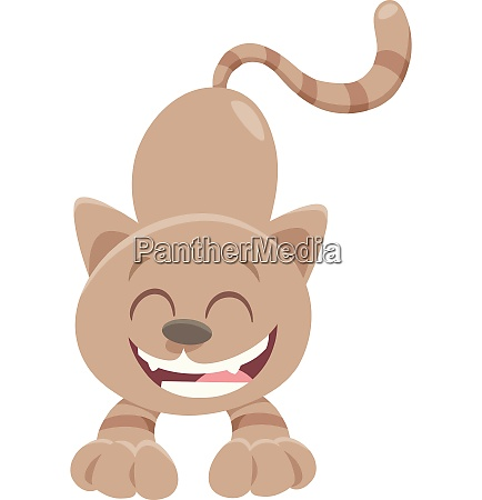 happy brown cat cartoon animal character
