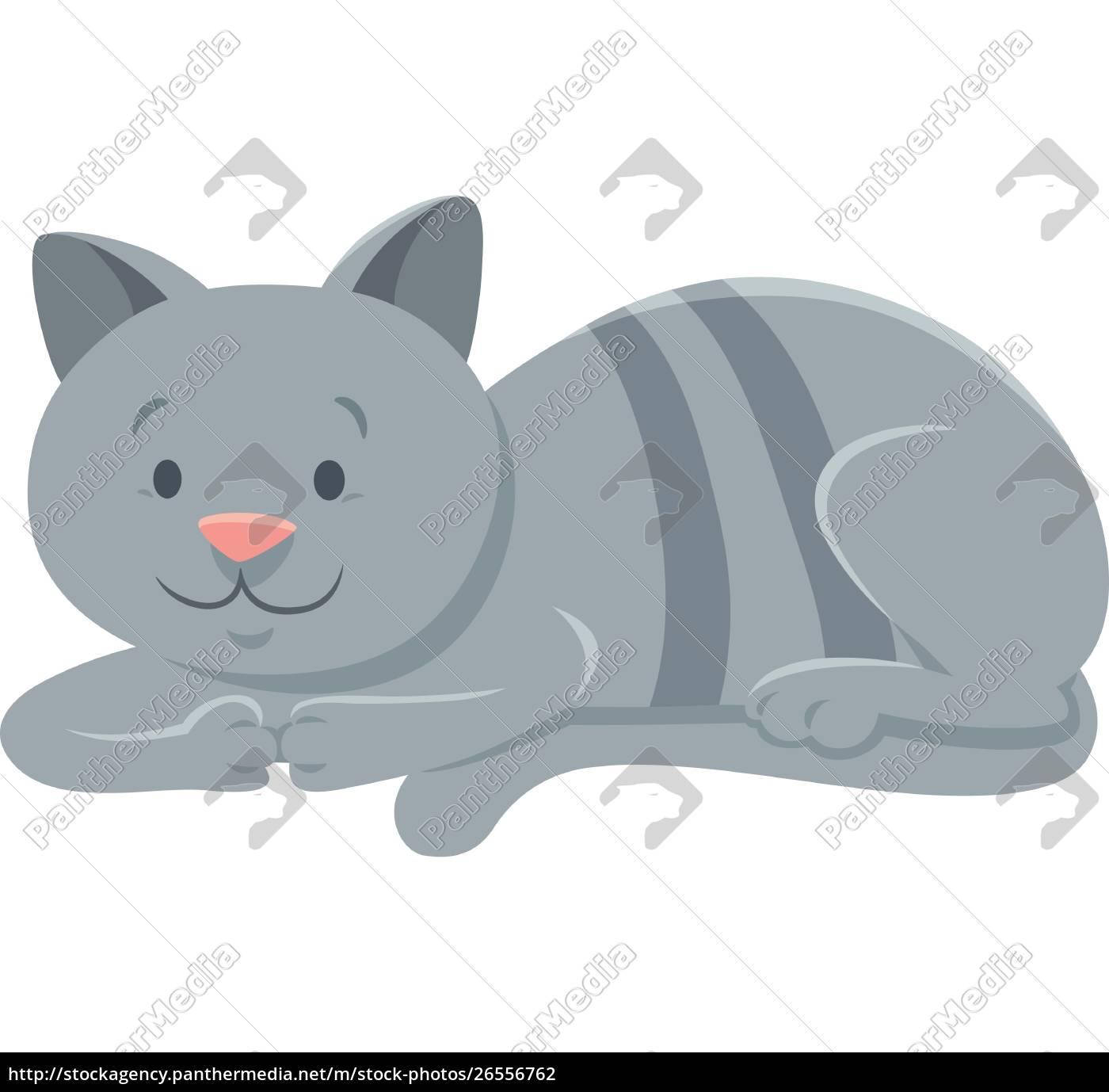 funny, gray, cat, cartoon, animal, character - 26556762