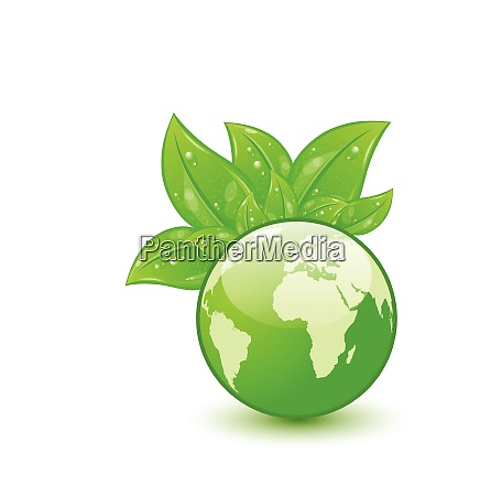 illustration global planet and eco green