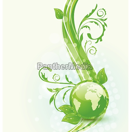 illustration wavy background with global planet