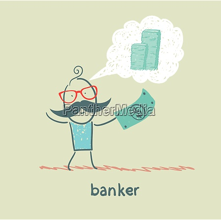 banker with the dollar thinks about