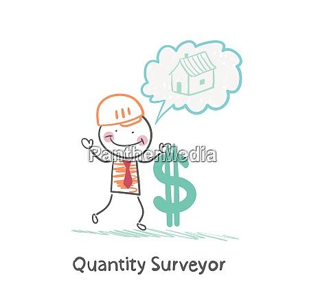 quantity surveyor holds dollar and thinking