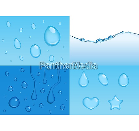 4 vector water backgrounds with drops