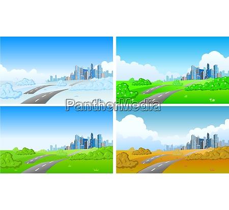 cityscape in four seasons vector
