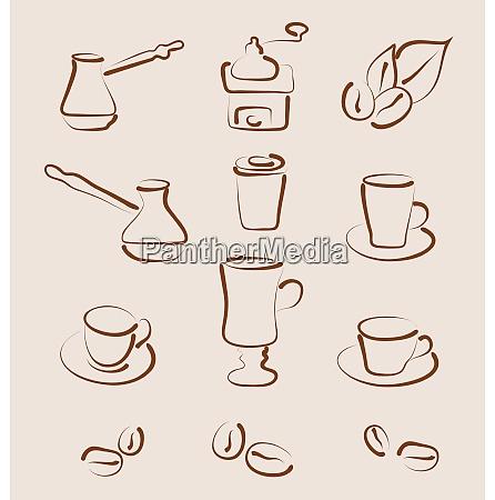 illustration sketch set coffee design elements