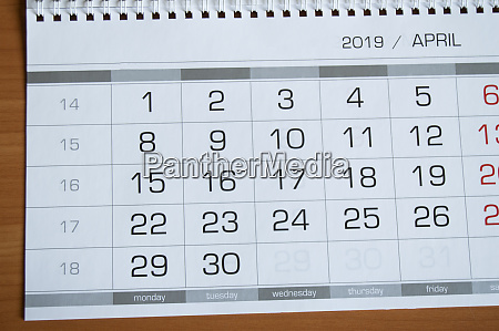 background dates on the calendar page