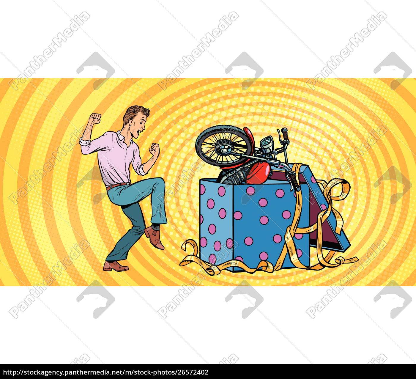 Man And Motorcycle Holiday Gift Box Funny Reaction Stock Image 26572402 Panthermedia Stock Agency