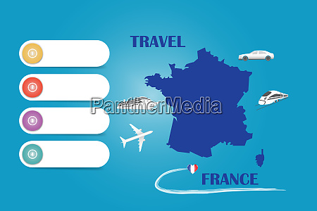 travel france template vector on the