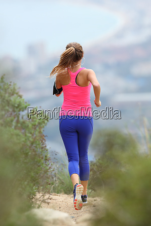 rear view of a runner running